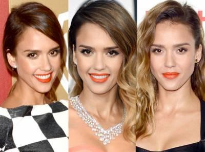 Fotos de celebridades com batom laranja