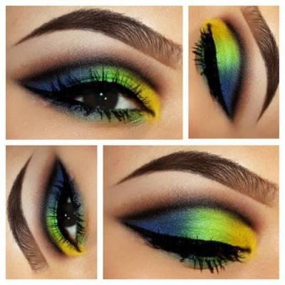 Maquiagens da cor da bandeira do Brasil