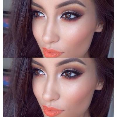 Maquiagem com batom laranja para noite