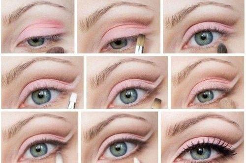 Maquiagem rosa para olhos caídos