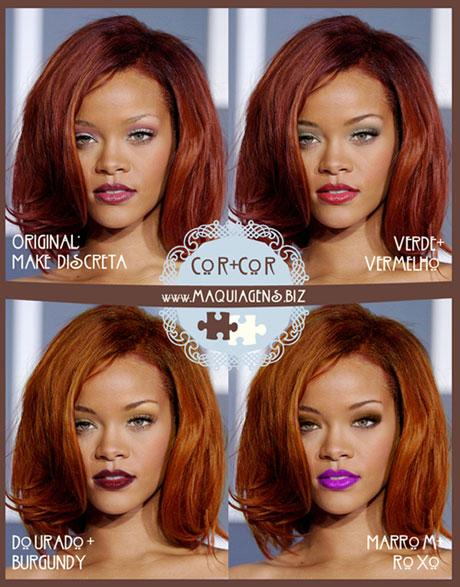 Maquiagem ideal para negras de cabelo ruivo vermelho
