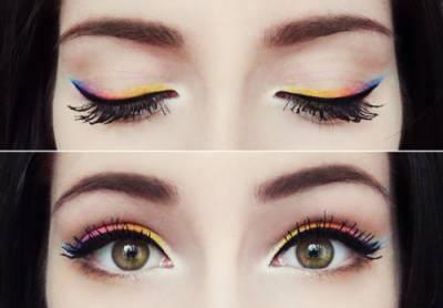 fotos de maquiagem com delineador colorido