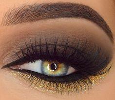 dicas de maquiagem que combina com vestido dourado