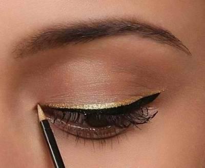Maquiagem para usar com roupa dourada - dia