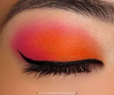 Maquiagem emo rosa e laranja passo a passo