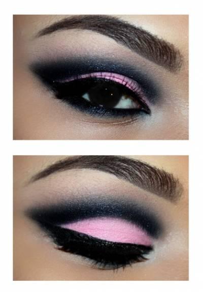 Maquiagem preta e rosa claro passo a passo