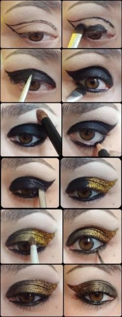 Maquiagem para vestido dourado passo a passo - noite