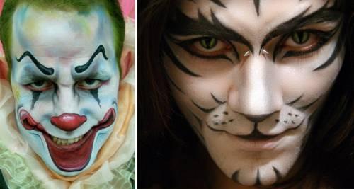 Maquiagem de Halloween para homens de gato