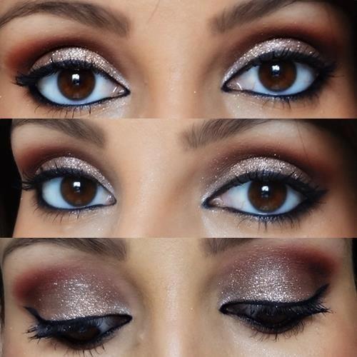maquiagem para olhos castanhos escuros para a noite