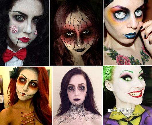 Maquiagem Halloween feminina usando lente