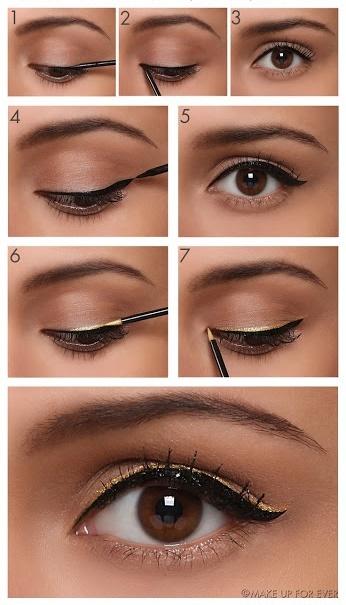 Maquiagem com delineador preto e dourado passo a passo