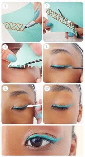 Maquiagem com delineador colorido diferente para festa