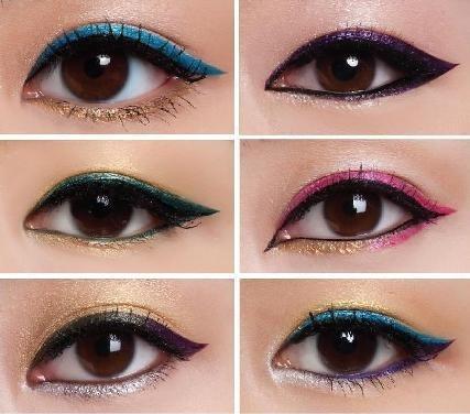 Ideias de maquiagem com delineador colorido - fotos