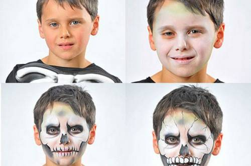 Como fazer maquiagem de caveira para Halloween infantil