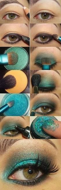 maquiagem verde brilhante esmeralda