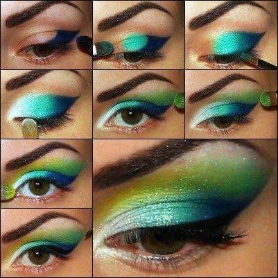 maquiagem azul e verde passo a passo