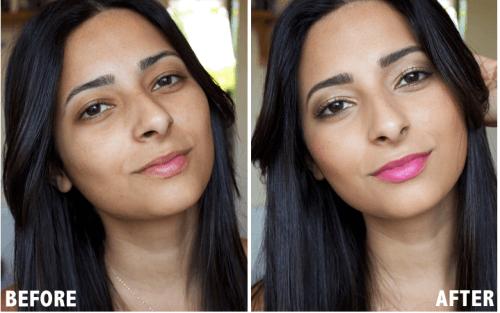 foto antes e depois maquiagem de morena