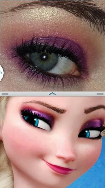 Passo a passo de maquiagem Frozen roxa e rosa