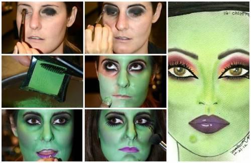 maquiagem de bruxa assustadora velha