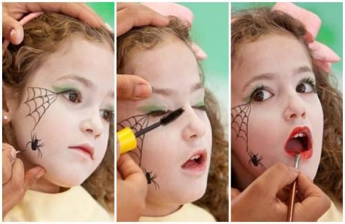 maquiagem de bruxa para crianças com teia