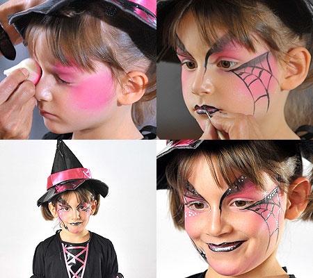Maquiagem De Criança bruxa simples com teia