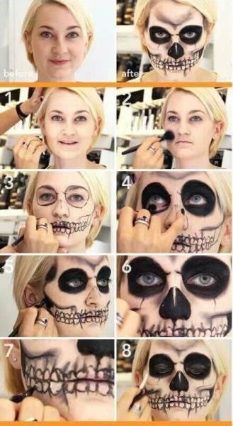como fazer maquiagem de caveira feminina