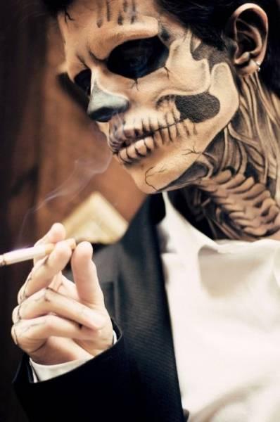 maquiagem de caveira masculina