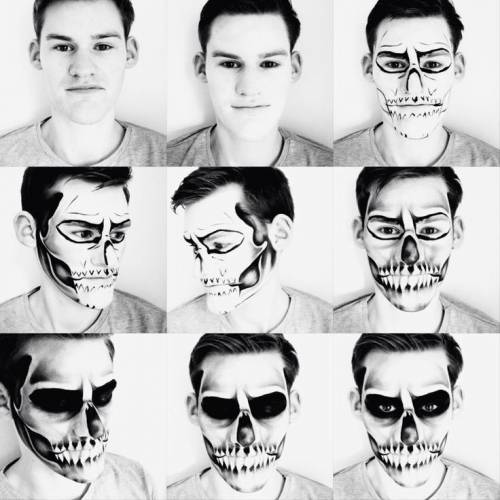 maquiagem de caveira masculina passo a passo