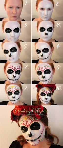 maquiagem de caveira mexicana passo a passo