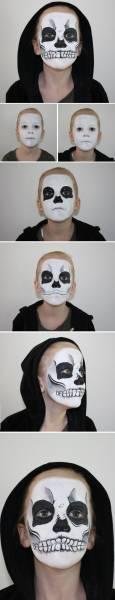 maquiagem infantil de caveira mexicana