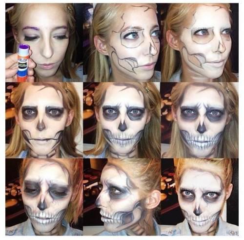 maquiagem de caveira passo a passo