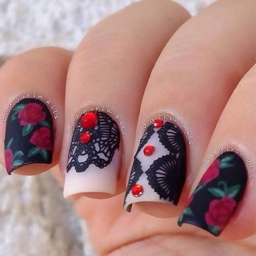 unhas decoradas com rosas 1