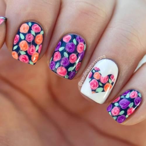 unhas decoradas com rosas 15