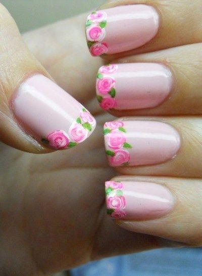 unhas decoradas com rosas 26