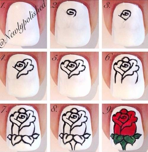 Rose Nail Art Tutorial: 60 Unhas Decoradas COM ROSAS: Fotos E Tutoriais