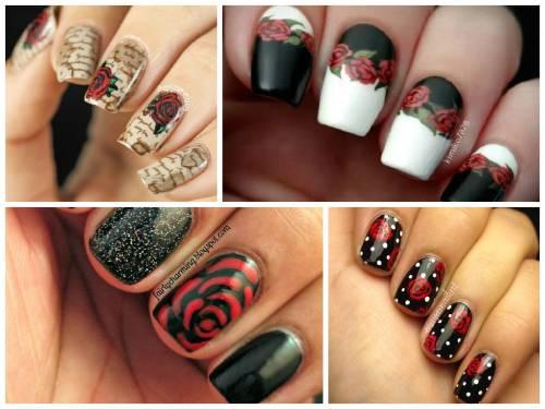 unhas decoradas com rosas 5