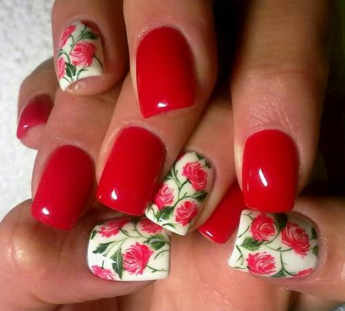 unhas decoradas com rosas 8