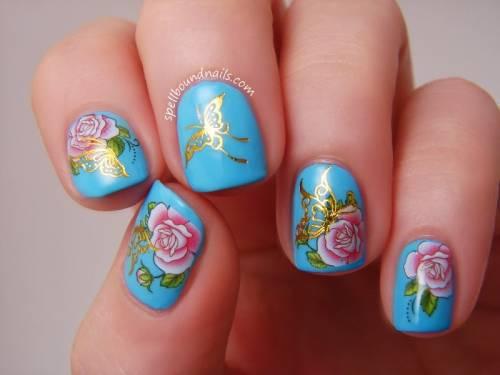 unhas decoradas com rosas 9