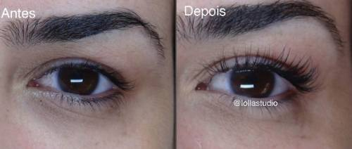 antes e depois de alongar cílios