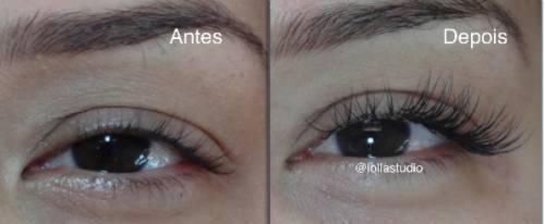 foto antes e depois cílios alongados