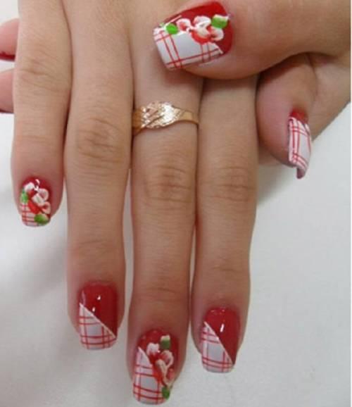 unha com flores camada dupla vermelha