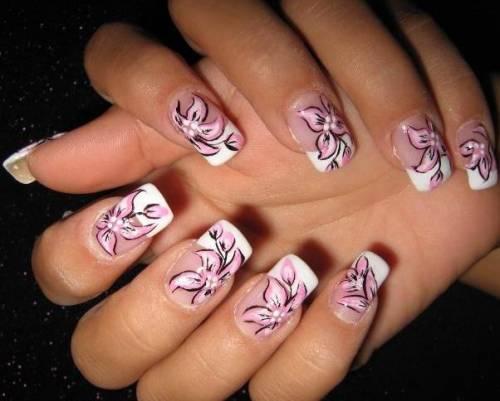unha com flores diferente fotos