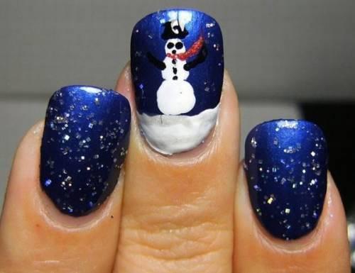 unha decorada azul e branco boneco de neve