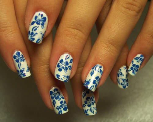 unha decorada azul e branco flor fotos