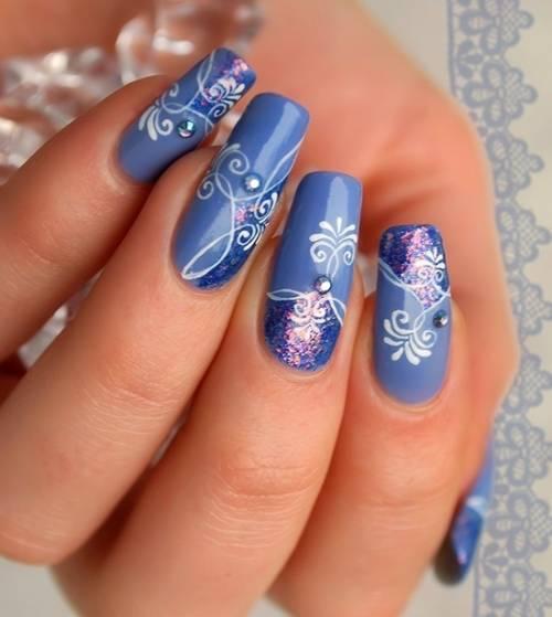 unha decorada com flor azul dicas