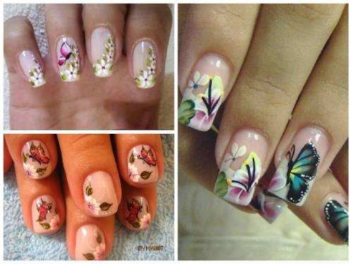 ideias de desenhos para unha com borboletas e flores