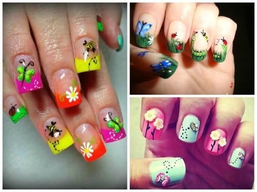 unhas decoradas com borboletas e flores