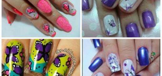 modelos de nail art para desenho de borboletas e flores