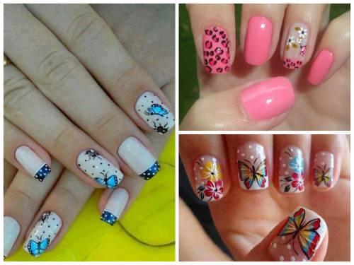 ideias nail art borboletas e flores