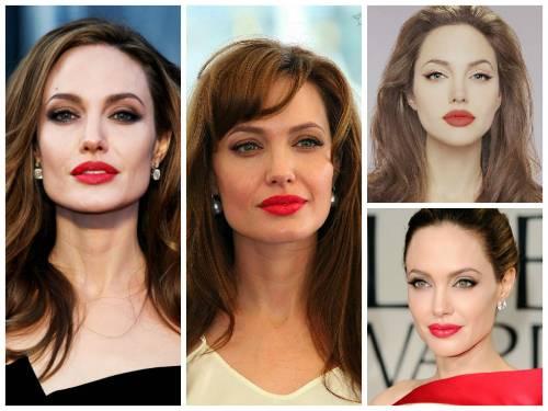 angelina jolie maquiagem e batom vermelho
